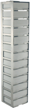 Vertical Rack with 2″ Fiberboard Boxes and 81 Cell Dividers – 13 Boxes High