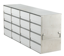 Upright Freezer Rack with 2″ Fiberboard Boxes and 100 Cell Dividers (4 Boxes Deep x 4 Boxes High)