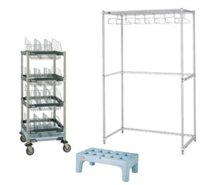 Bootie Storage, Gowning Racks, Benches and Dunnage Racks