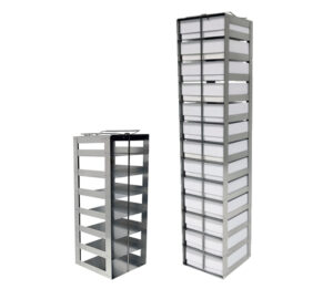 Stainless & Aluminum Vertical Freezer Racks for 2 Inch Boxes