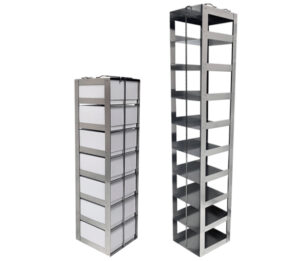 Stainless & Aluminum Vertical Freezer Racks for 3 Inch Boxes