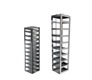 Stainless & Aluminum Vertical Freezer Racks for 3 Inch Mini Boxes