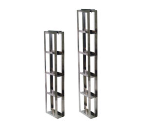 Stainless Slim-Style Vertical Freezer Racks for 2 Inch Boxes