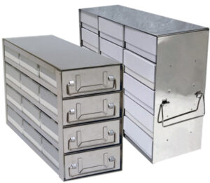 Stainless Upright Freezer Racks for 2 Inch Boxes