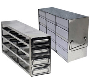 Stainless Upright Freezer Racks for 3 Inch Boxes