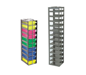 Stainless Vertical Freezer Racks for 100-cell Hinged Top Boxes